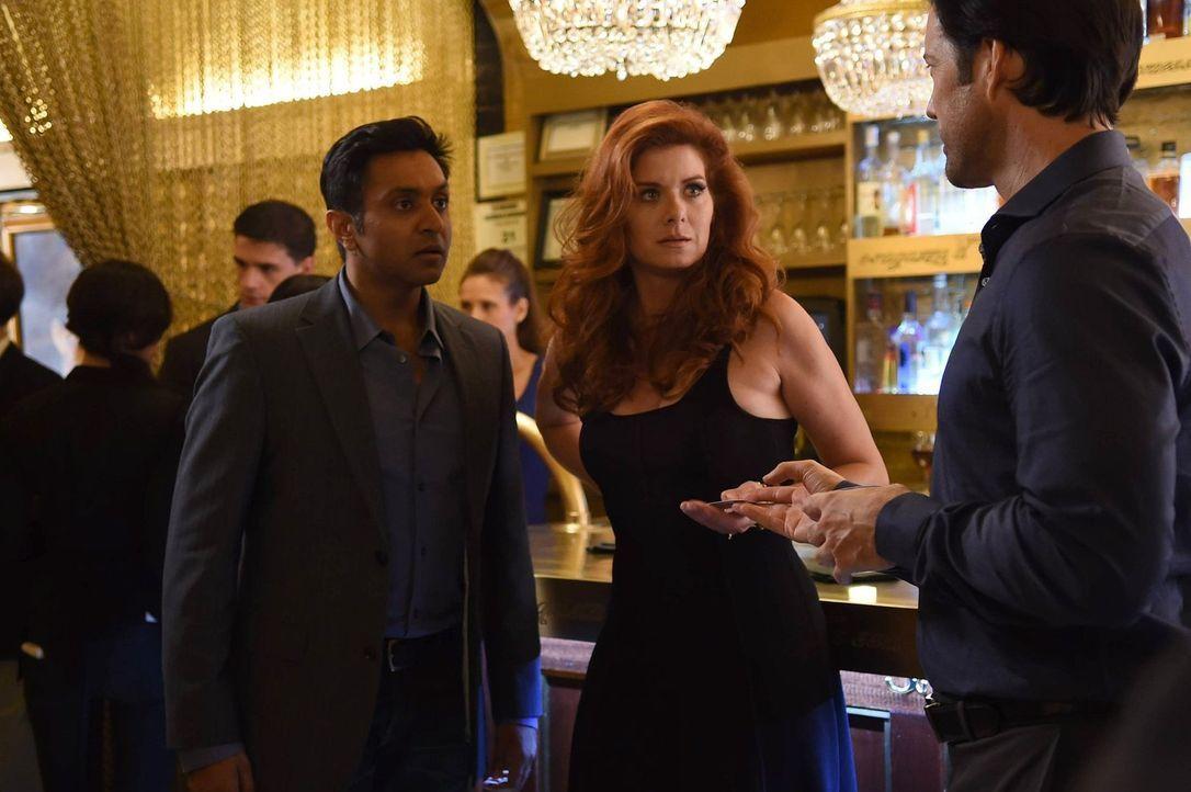 Laura (Debra Messing, M.) ermittelt undercover in Nachtclubs, um einen Mord in der in der Online-Dating-Szene zu lösen. Doch haben Kevin (Bhavesh Pa... - Bildquelle: Warner Bros. Entertainment, Inc.