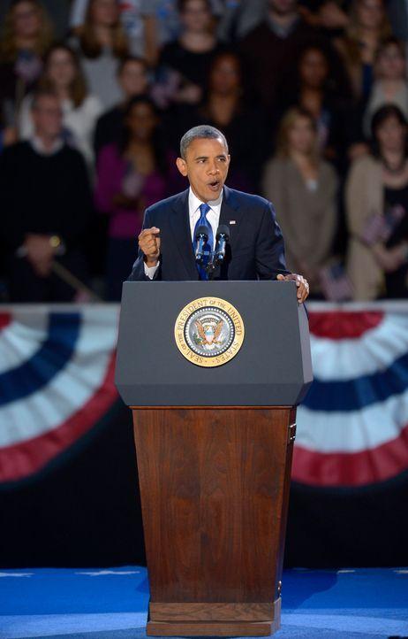 Der wiedergewählte Präsident Barack Obama bei seiner Siegesrede.  - Bildquelle: dpa - Bildfunk +++ Verwendung nur in Deutschland
