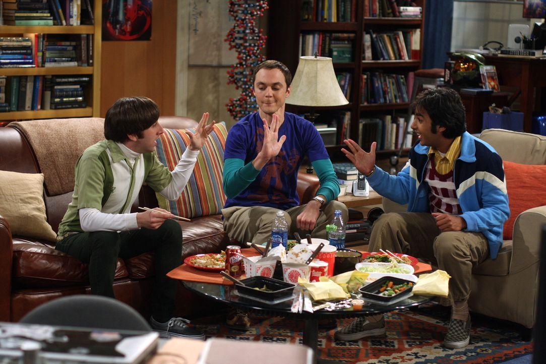 """Spielen eine erschwerte Version von """"Schere-Stein-Papier"""": Sheldon (Jim Parsons, M.), Raj (Kunal Nayyar, r.) und Howard (Simon Helberg, l.) ... - Bildquelle: Warner Bros. Television"""
