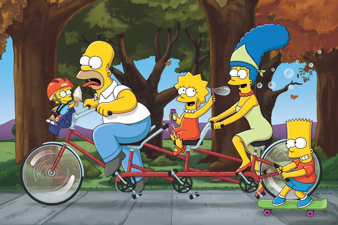 (23. Staffel) - Eine etwas ungewöhnliche Familie: Maggie (l.), Marge (2.v.r.), Homer (2.v.l.), Bart (r.) und Lisa Simpson (M.) ... - Bildquelle: und TM Twentieth Century Fox Film Corporation - Alle Rechte vorbehalten