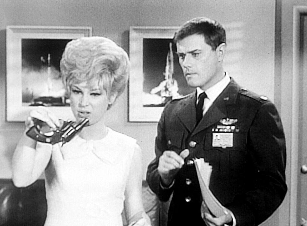 Die NASA hat Tony (Larry Hagman, r.) beauftragt, die Prinzessin Tarji von Paknait drei Tage zu begleiten. Jeannie (Barbara Eden, l.) will die Prinze... - Bildquelle: Columbia Pictures