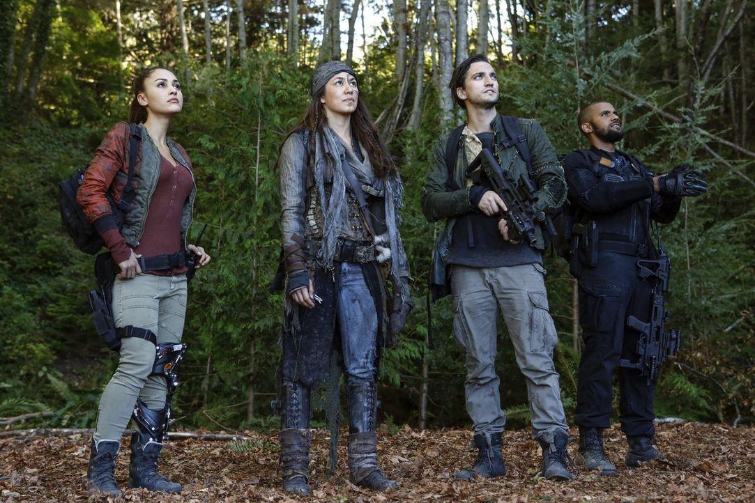 Während Raven (Lindsey Morgan, l.), Emori (Luisa D'Oliveira, 2.v.l.), Murphy (Richard Harmon, 2.v.r.) und Nathan (Jarod Joseph, r.) auf A.L.I.E.S. e... - Bildquelle: 2016 Warner Brothers