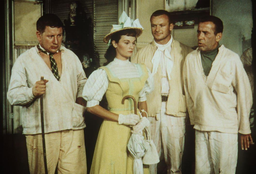 Den drei Gaunern Jules (Peter Ustinov, l.), Albert (Aldo Ray, 2.v.r.) und Joseph (Humphrey Bogart, r.) ist es gelungen, die Finanzen der Kaufmannsfa... - Bildquelle: Paramount Pictures