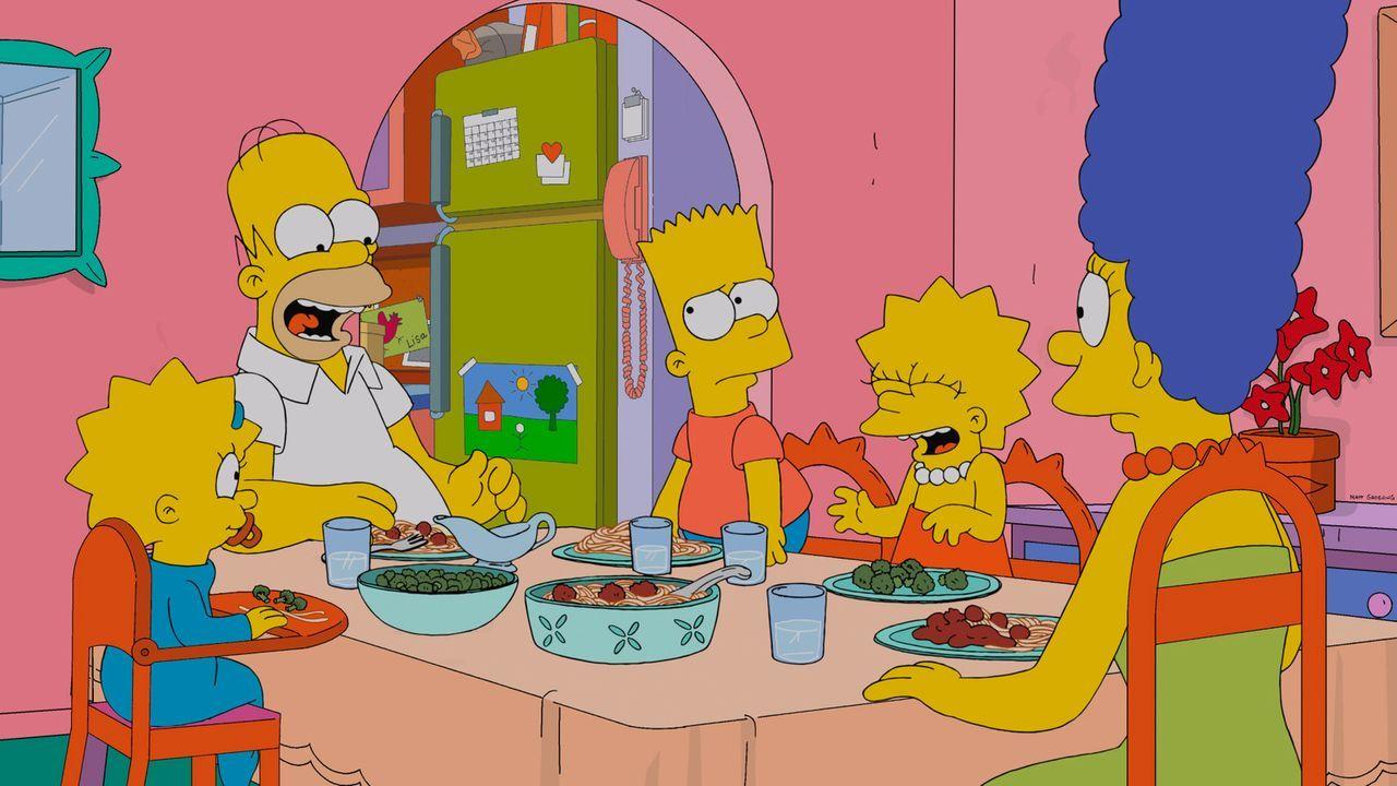 Eine ganz besondere Familie: Maggie (l.), Homer (2.v.l.), Bart (M.), Lisa (2.v.r.) und Marge (r.) ... - Bildquelle: 2013 Twentieth Century Fox Film Corporation. All rights reserved.