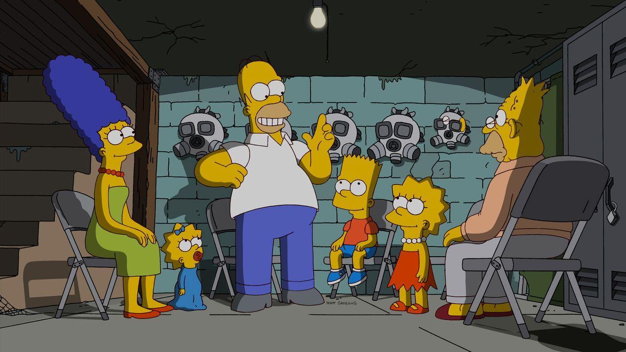 Ahnen nicht, dass sie schon bald aus Springfield verstoßen werden sollen: Homer (3.v.l.), Marge (l.), Bart (3.v.r.), Lisa (2.v.r.), Maggie (2.v.l.)... - Bildquelle: und TM Twentieth Century Fox Film Corporation - Alle Rechte vorbehalten