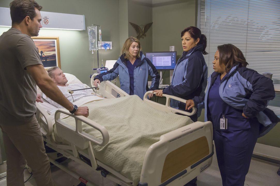 Meredith (Ellen Pompeo, M.), Bailey (Chandra Wilson, r.), Jackson, Callie (Sara Ramirez, 2.v.r.) und Jo fahren zu einem Militärkrankenhaus, um eine... - Bildquelle: Ron Batzdorff ABC Studios