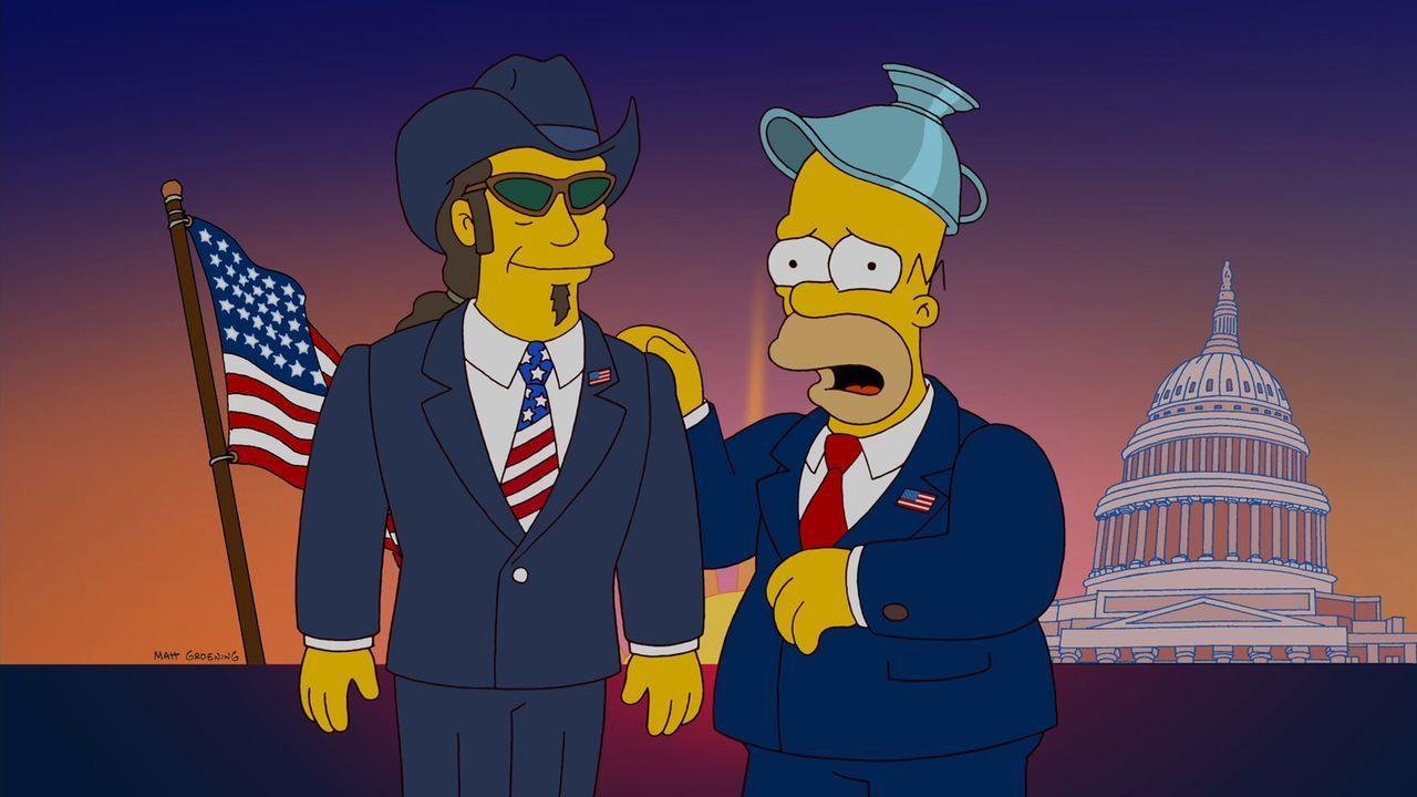 Homer (r.) hält Ted Nugent (l.) für einen geeigneten Präsidentschaftskandidaten. Doch hat er damit wirklich Recht? - Bildquelle: und TM Twentieth Century Fox Film Corporation - Alle Rechte vorbehalten
