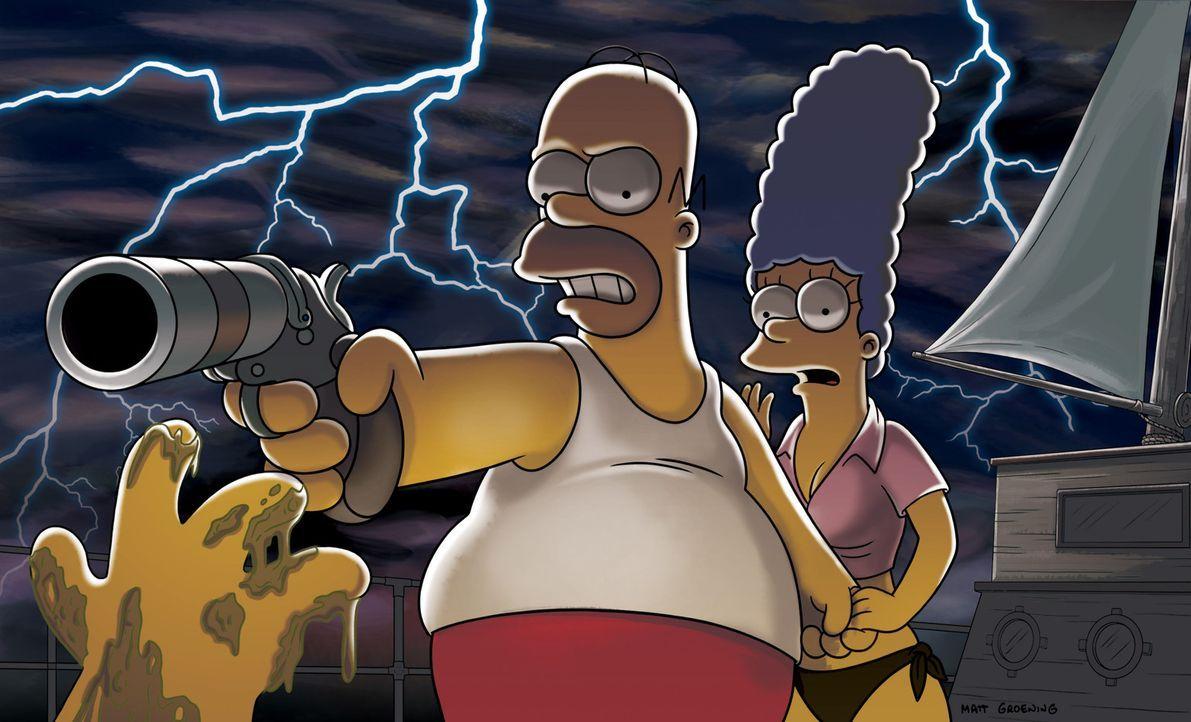 Homer (l.) und Marge (r.) machen einen kleinen Liebesurlaub auf einer Yacht fern aller Zivilisation. Plötzlich kommt ein Schiffbrüchiger an  Bord,... - Bildquelle: und TM Twentieth Century Fox Film Corporation - Alle Rechte vorbehalten