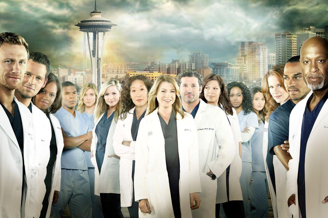 (10. Staffel) - Grey's Anatomy: Owen (Kevin McKidd), Alex (Justin Chambers), Miranda (Chandra Wilson), Shane (Gaius Charles), Leah (Tessa Ferrer), A... - Bildquelle: ABC Studios