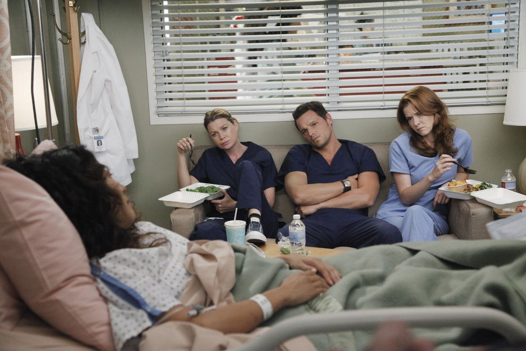 Rückblende: Nach dem schrecklichen Flugzeugabsturz machen sich Meredith (Ellen Pompeo, 2.vl.), Alex (Justin Chambers, 2.v.r.) und April (Sarah Drew... - Bildquelle: ABC Studios