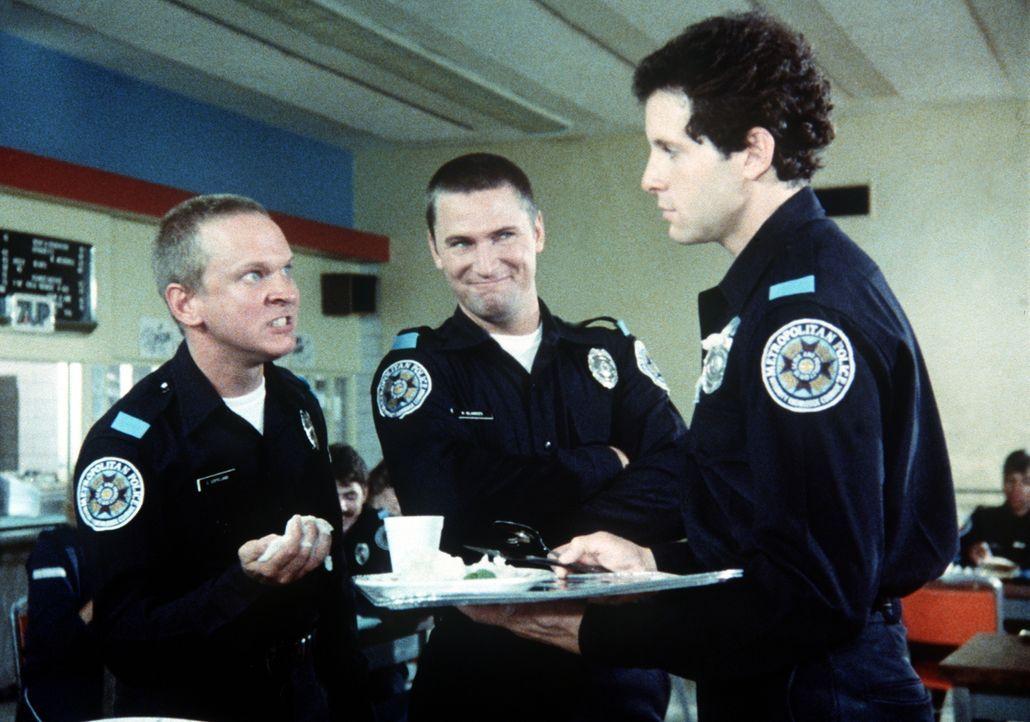 Die Kadetten Chad Copeland (Scott Thomson, l.), Kyle Blankes (Brant Van Hoffmann, M.) und Carey Mahoney (Steve Guttenberg, r.) gehen ihren Ausbilder... - Bildquelle: Warner Bros.