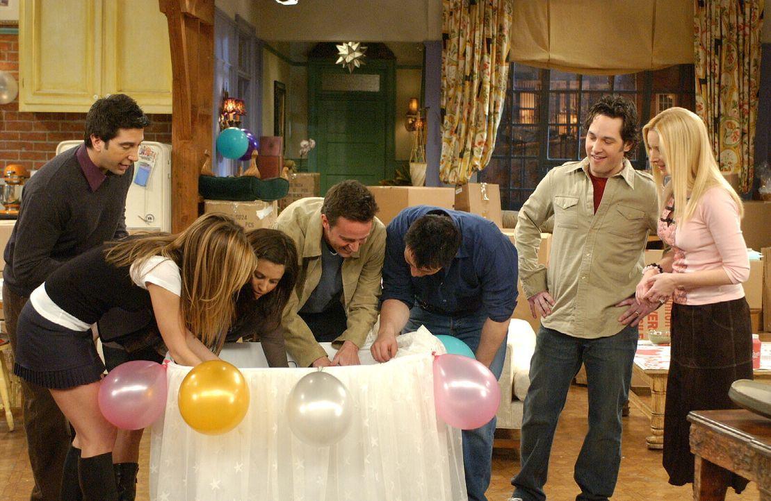 Können das Babyglück noch gar nicht fassen: Ross (David Schwimmer, l.), Rachel (Jennifer Aniston, 2.v.l.), Monica (Courteney Cox, 3.v.l.), Chandler... - Bildquelle: 2003 Warner Brothers International Television