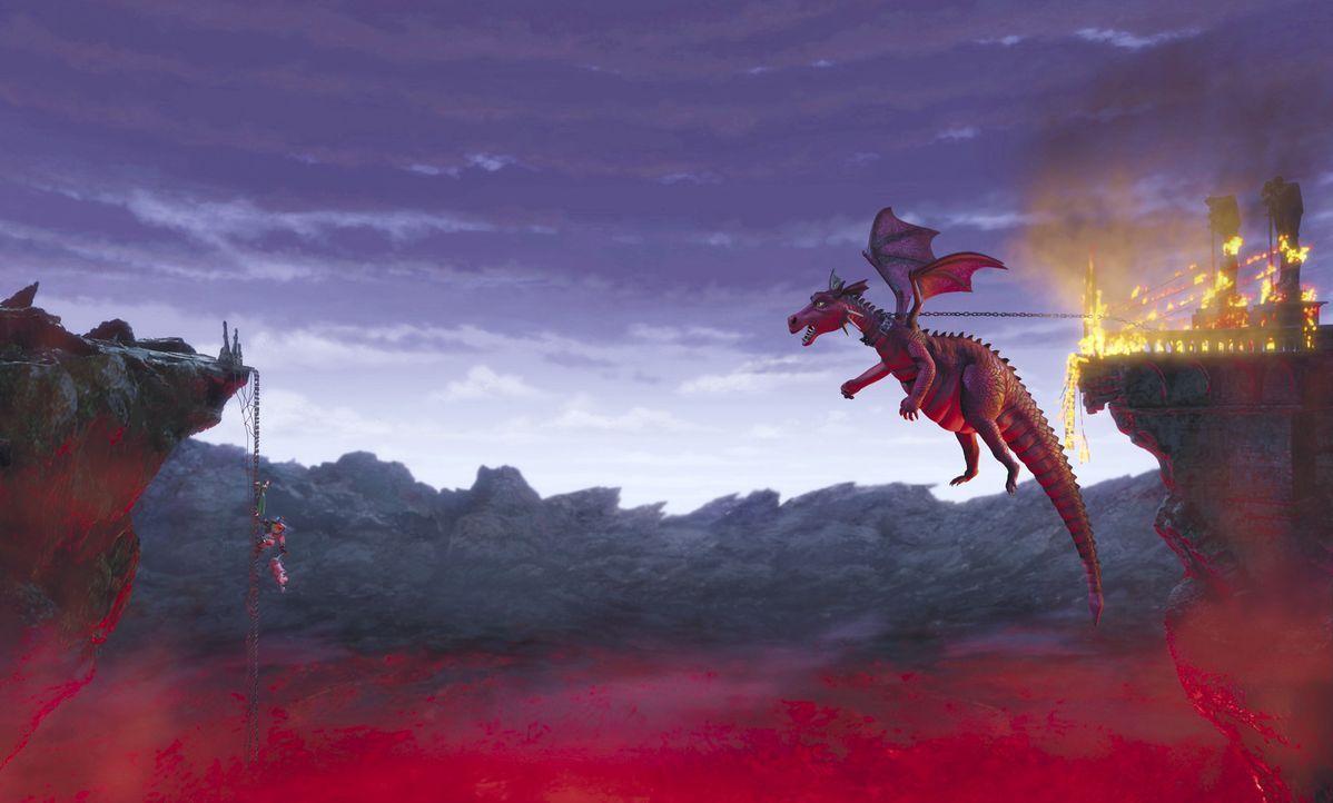 In letzter Sekunde können Shrek, Fiona und der sprechende Esel vor der wütenden Drachendame flüchten ... - Bildquelle: TM &   2001 DreamWorks L.L.C.