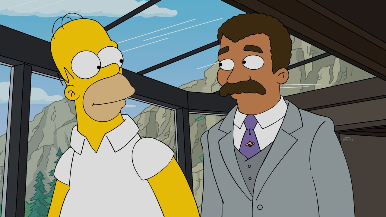 Sind sich einig, dass sie dem skrupellosen Vorhaben von Mr. Burns ein Ende machen müssen: Homer (l.) und Neil deGrasse Tyson (r.) ... - Bildquelle: 2016-2017 Fox and its related entities. All rights reserved.