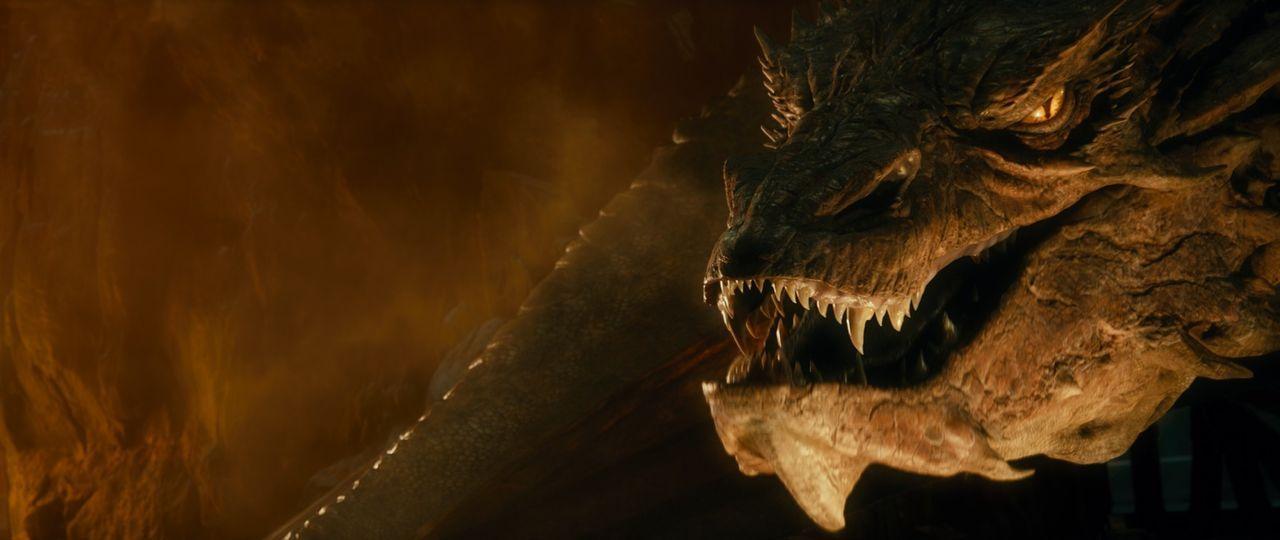 Der gefährliche Drache Smaug (Benedict Cumberbatch) gehört zu den geflügelten Drachenschlangen und ist dafür verantwortlich, dass die Zwerge aus ihr... - Bildquelle: 2013 METRO-GOLDWYN-MAYER PICTURES INC. and WARNER BROS. ENTERTAINMENT INC.
