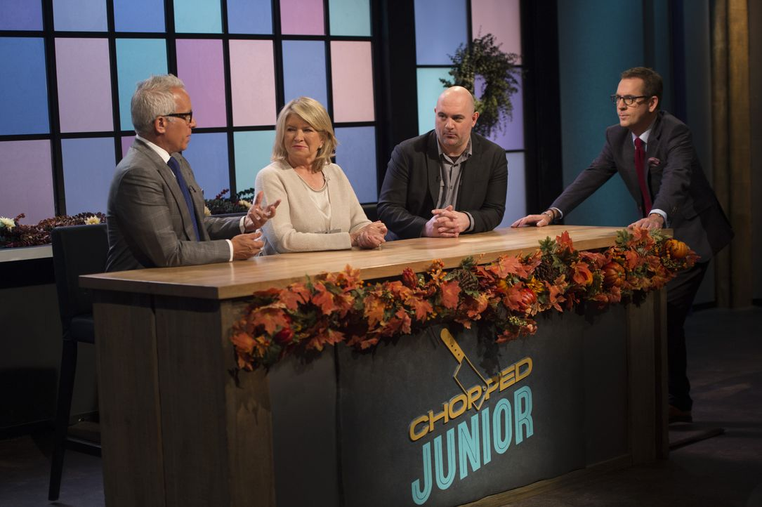Dieses Mal beurteilen die Köche (v.l.n.r.) Geoffrey Zakarian, Martha Stewart und Chris Santos, wer der Chopped-Champion in Ted Allens (r.) Junior-Kü... - Bildquelle: Scott Gries 2015, Television Food Network, G.P. All Rights Reserved