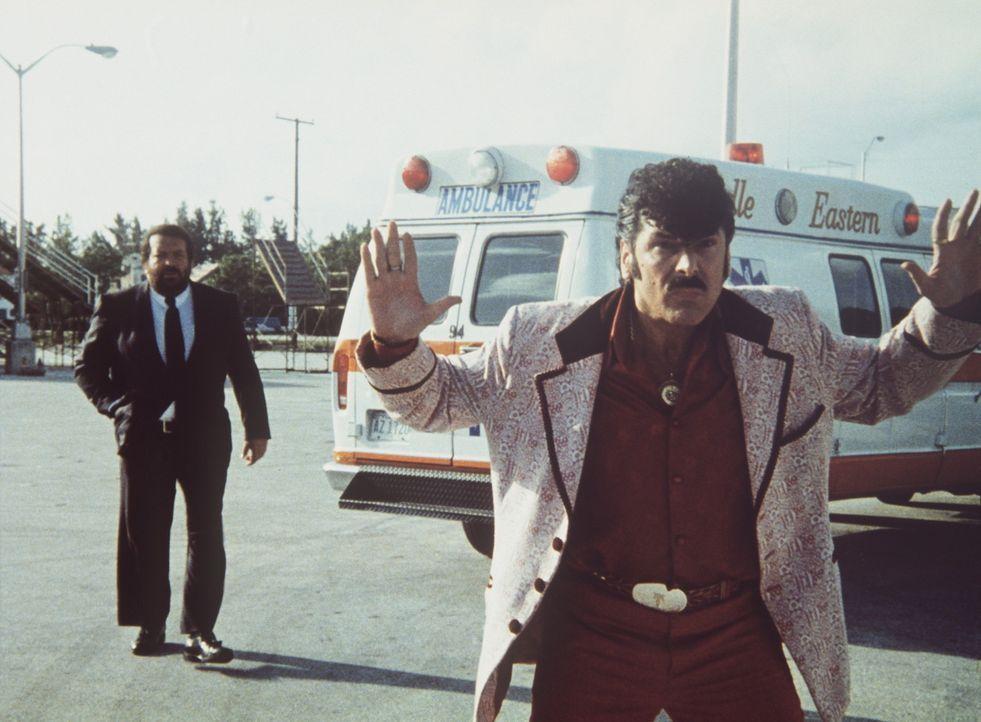 Polizist Alan Parker (Bud Spencer, l.) ist ein echter Haudegen. Er wird auf den windigen Ganoven Tony Roma (Tomas Milian, r.) angesetzt, der die Fra...