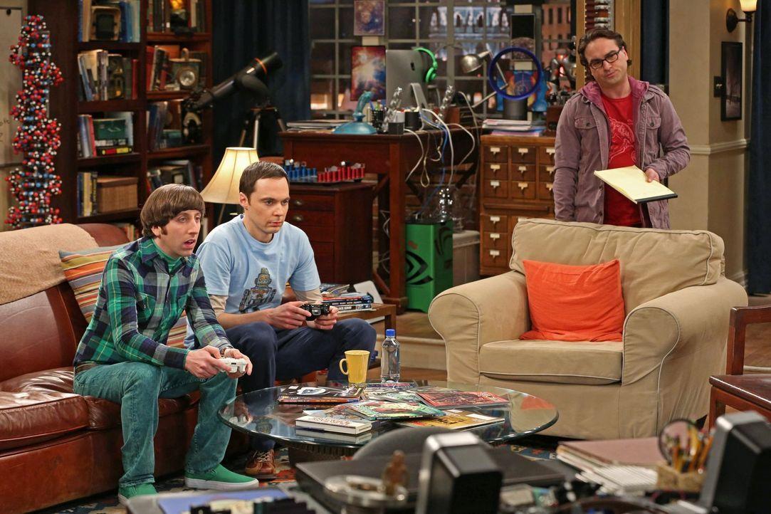 Haben eine besondere Aufgabe zu bewältigen: Leonard (Johnny Galecki, r.), Sheldon (Jim Parsons, M.) und Howard (Simon Helberg, l.) ... - Bildquelle: Warner Bros. Television